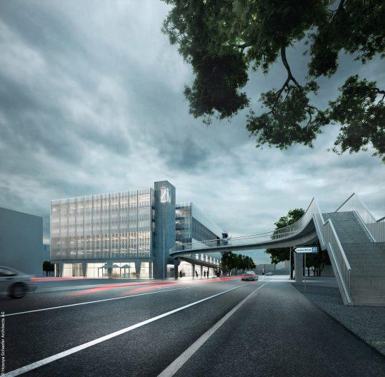 TechCluster VZug Visualisierung Mobility Hub Zug Nord - Parkhaus der Zukunft