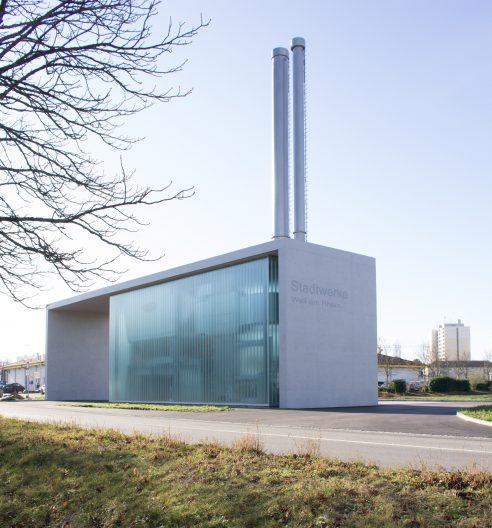Heizzentrale Stadtwerke Weil am Rhein, Aussenperspektive Straße