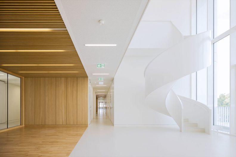Forschungszentrum MAIN, TU Chemnitz, Innenansicht geschwungene Verbindungstreppe zur Galerie