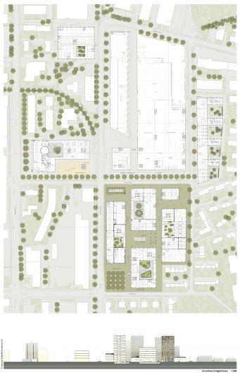 TechCluster VZug Testplanung Grundrisse M 1:500 mit Umfeld und Quartiersschnitt