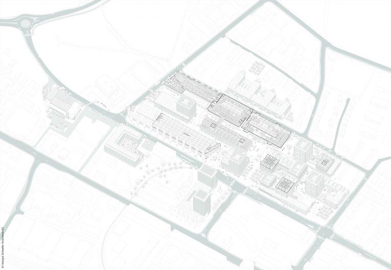TechCluster VZug Axonometrie Quartier mit Grundrissauszügen