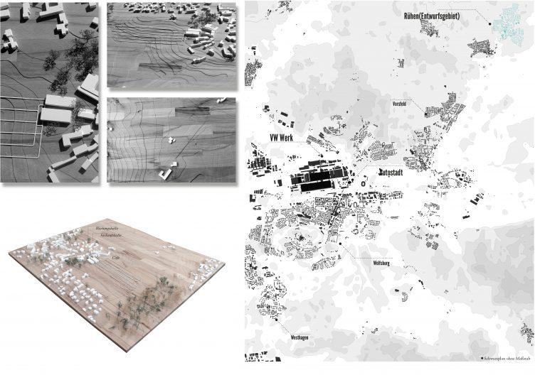 Schwarzplan und Modellbilder Städtebau