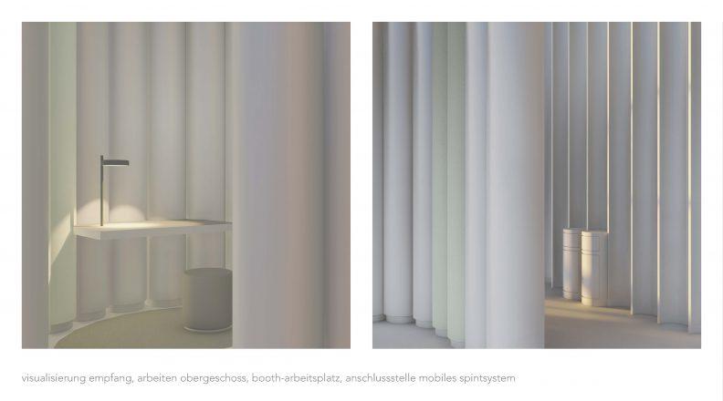 Visualisierung Booth-Arbeitsplatz, Anschlussstelle mobiles Spintsystem