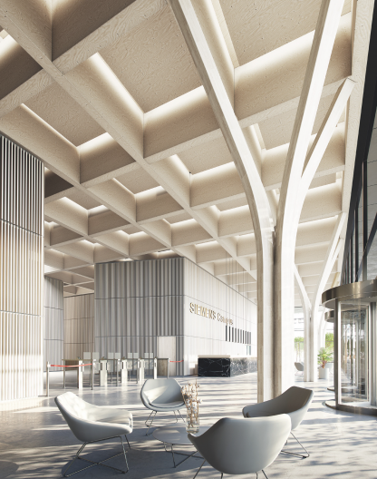 Siemens Campus Erlangen Modul2 Visualisierung Innenperspektive Foyer Holzhybridbauweise