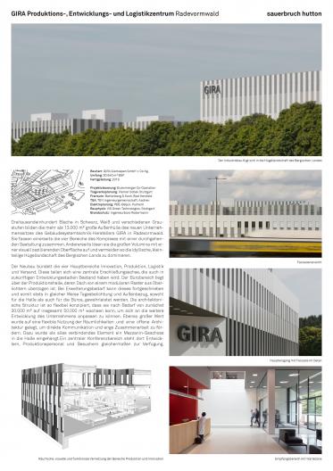 Gira Unternehmenssitz Übersichtsplan mit Perspektiven und Erläuterungstext