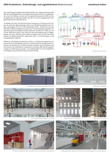 Gira Unternehmenssitz Schema Energiekonzept, Erläuterungstext und Innenansichten