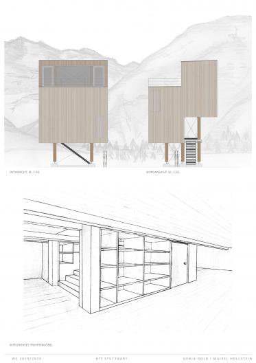Ost- und Nordansicht, Entwurf Treppenmöbel